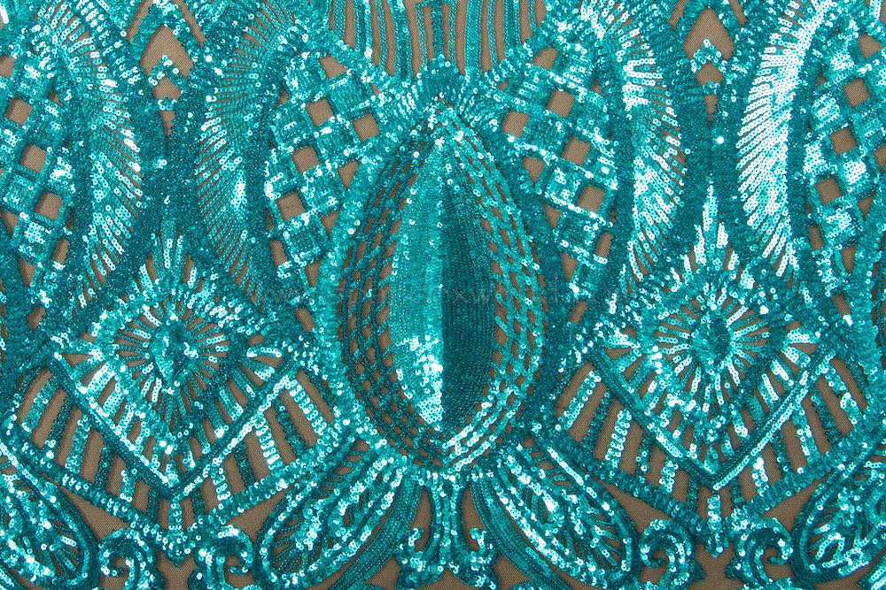 Stretch Sequins (Black/Aqua)