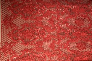 Non Stretch Sequins(Red/Red)