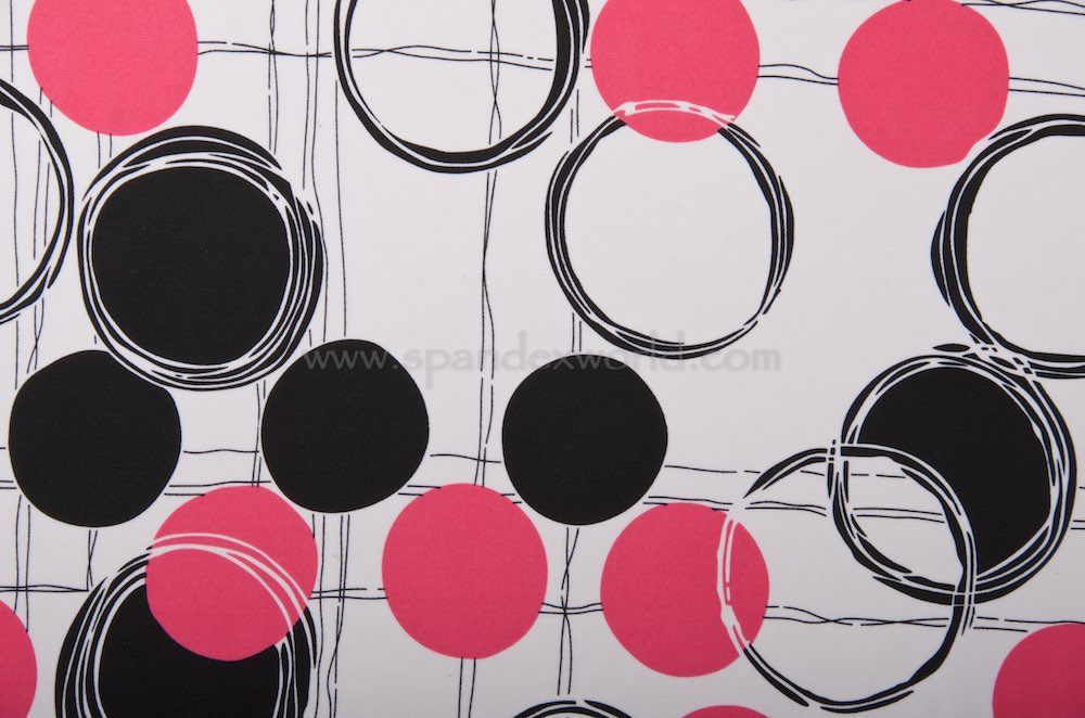 Abstract Print Spandex (White/Black/Hot pink)