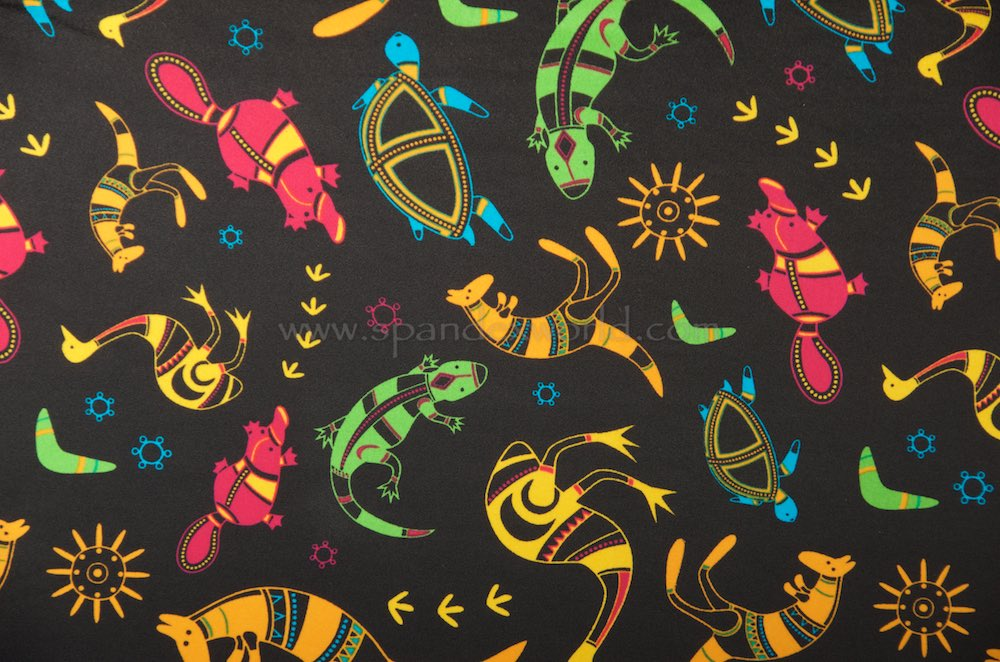 Printed Spandex (Black/Yellow/Multicolored )