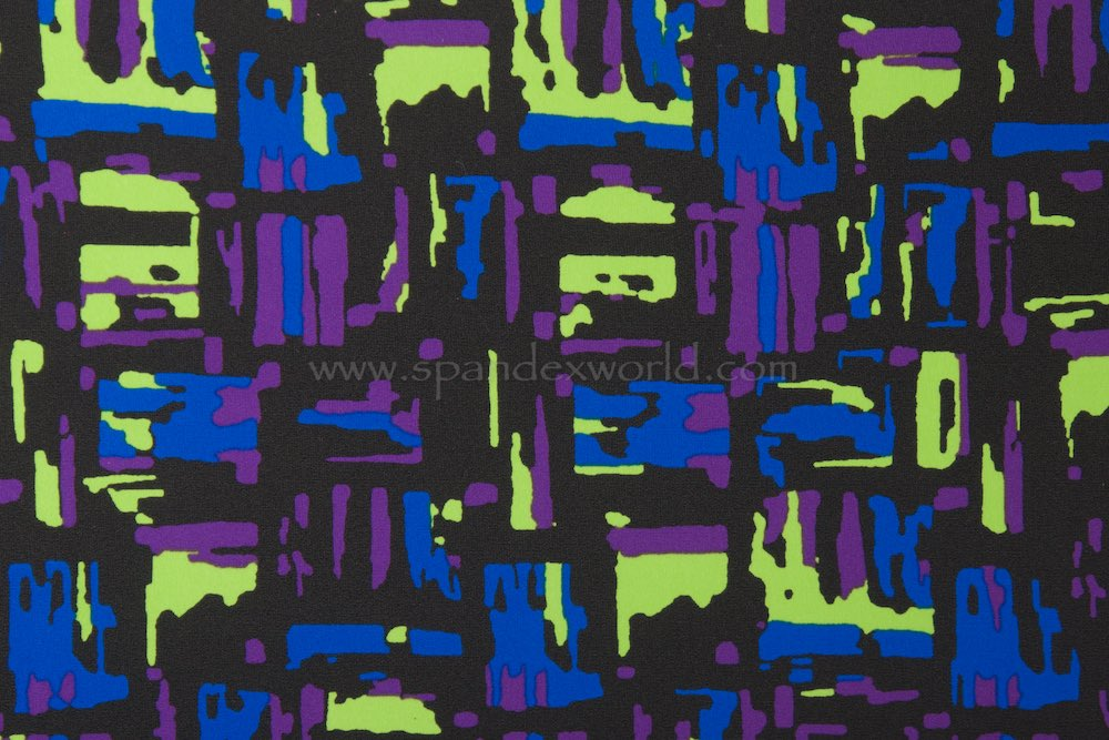 Printed Spandex (Black/Lime/Royal/Purple)