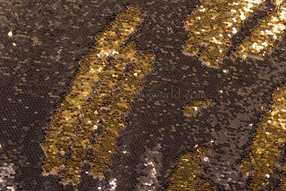 Reversible Non Stretch Sequins (Black/Gold)