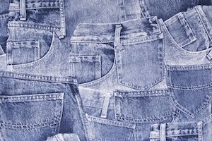 Stretch Denim print(Blue/White)