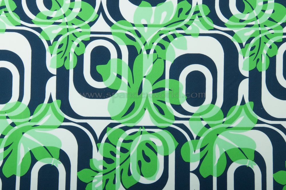 Abstract Print Spandex (White/Navy Blue/Green)