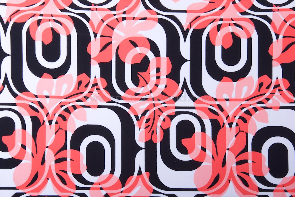 Abstract Print Spandex(Black/White/Coral)