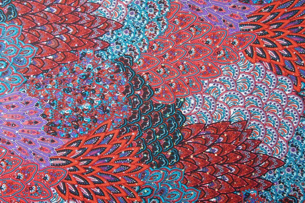 Peacock Prints With Sequins (Black/Red/Hot Pink/Blue/Multi)
