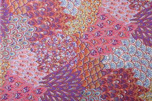 Peacock Prints With Sequins (Fuchsia/Yellow/Purple/Orange/Multi)