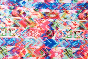 Abstract Print Spandex (Red/Blue/Pink/Multi)