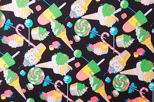 Abstract Print Spandex(Black/Hot Pink/Green/Multi)