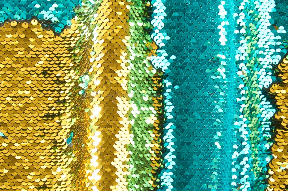 Reversible Stretch Sequins (Teal/Gold)
