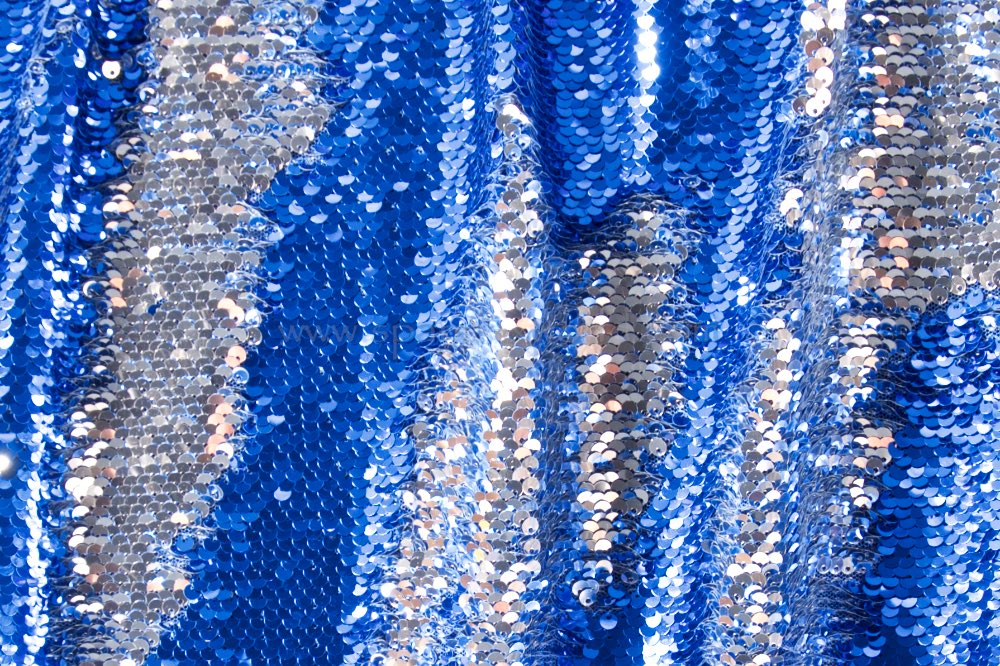 Reversible Stretch Sequins (Royal Blue/Silver/Royal Blue)