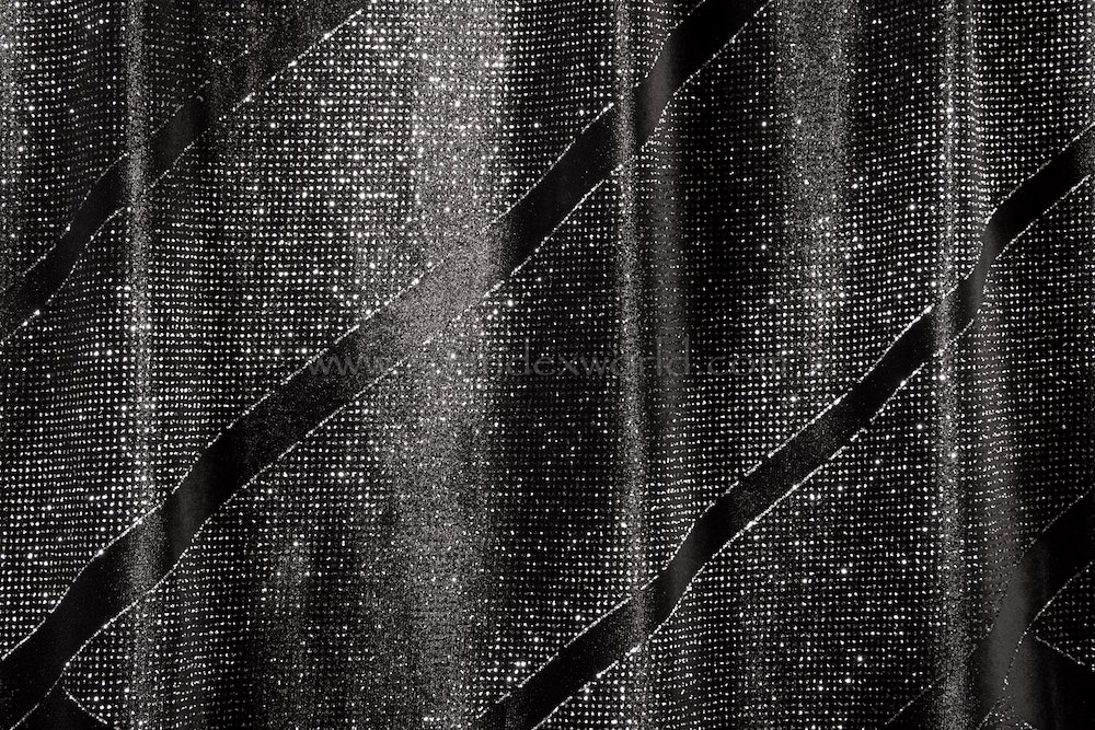 Glitter/Pattern Stretch Velvet (Black/Silver)