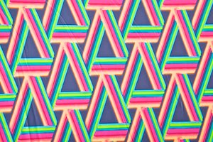 Abstract Print Spandex (Orange/Fuchsia/Green/Multi)