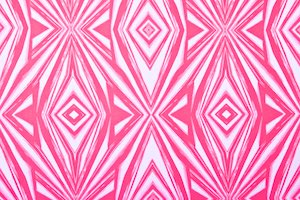 Abstract Print Spandex (White/Hot Pink)