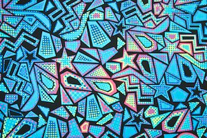 Abstract Print Spandex (Turquoise/Pink/Black/Multi)