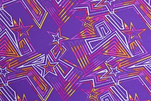 Abstract Print Spandex (Purple/Yellow/White/Multi)