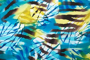Abstract Print Spandex (Blue/Black/Yellow/Multi)