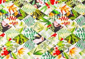 Leaves Prints Spandex (Green/Red/Yellow/Multi)