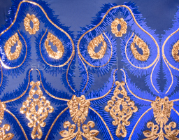 Stretch Sequins (Royal BLue/Gold/Ryal Blue )