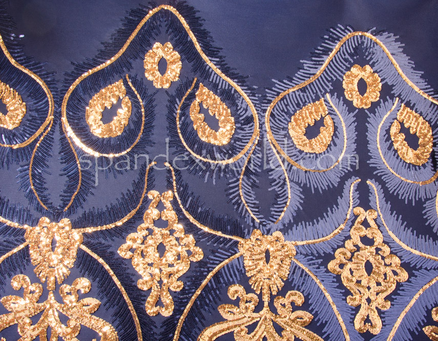 Stretch Sequins (Navy/Gold/Navy)