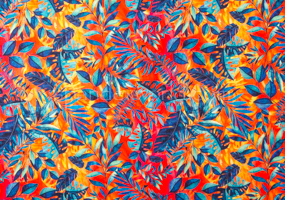 Leaf  Print (Orange/Blue/Multi)