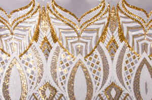 Stretch Sequins (White/Gold/White)