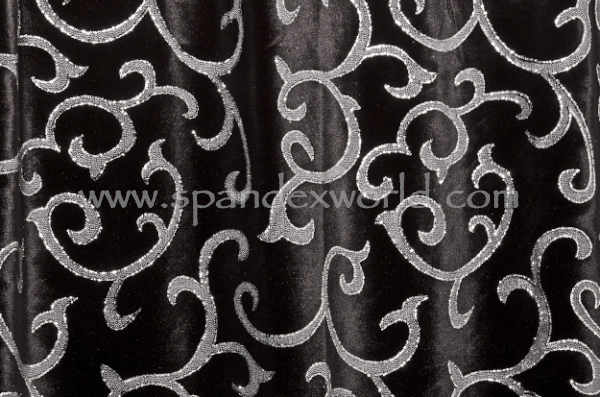 Glitter/Pattern Stretch Velvet (Black/White/Silver)