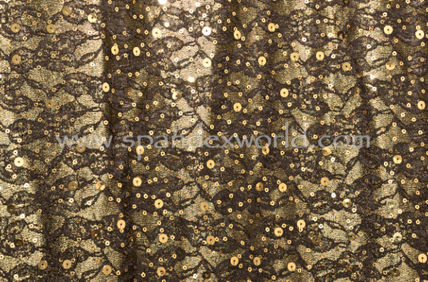 Non-Stretch Sequins (Black/Gold)