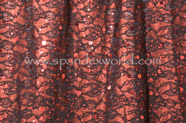 Non-Stretch Sequins (Black/Dark Red)